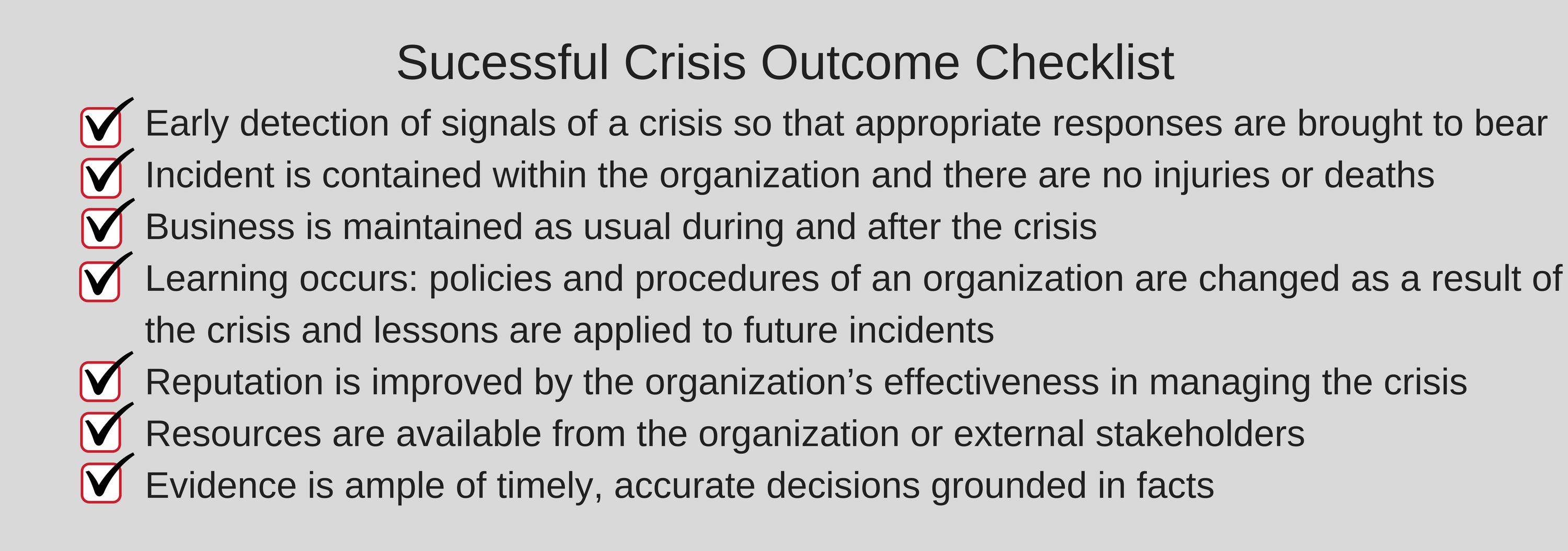 Successful Crisis Outcome
